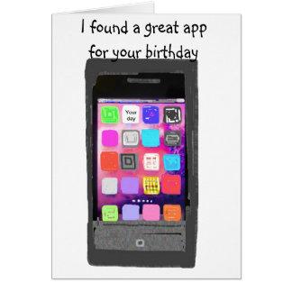 Humor del App del teléfono del feliz cumpleaños Tarjeta Pequeña