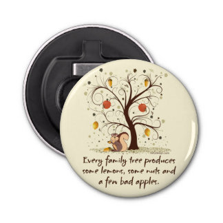 Humor del árbol de familia abrebotellas redondo