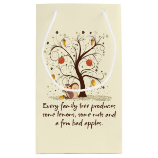 Humor del árbol de familia bolsa de regalo pequeña