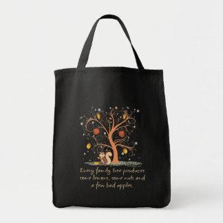 Humor del árbol de familia bolsa tela para la compra
