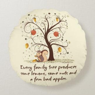 Humor del árbol de familia cojín redondo