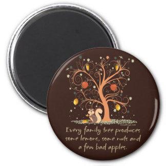 Humor del árbol de familia imán redondo 5 cm