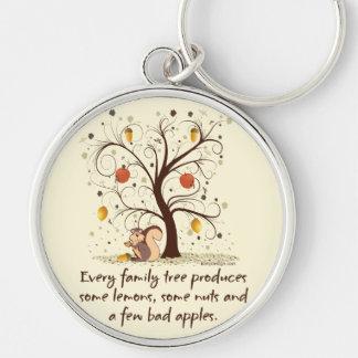 Humor del árbol de familia llavero redondo plateado