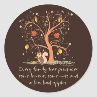 Humor del árbol de familia etiquetas redondas