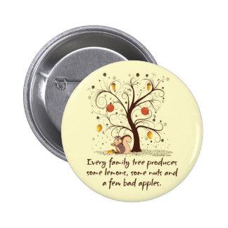 Humor del árbol de familia pin redondo de 2 pulgadas