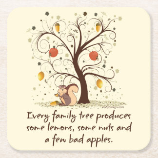 Humor del árbol de familia posavasos de cartón cuadrado