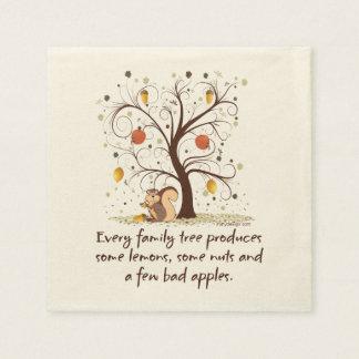 Humor del árbol de familia servilleta desechable