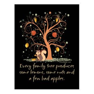 Humor del árbol de familia tarjeta postal