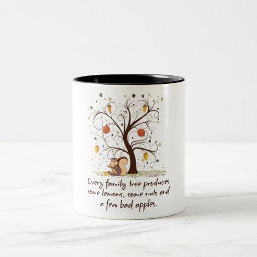 Humor del árbol de familia tazas de café