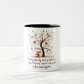 Humor del árbol de familia taza de dos tonos