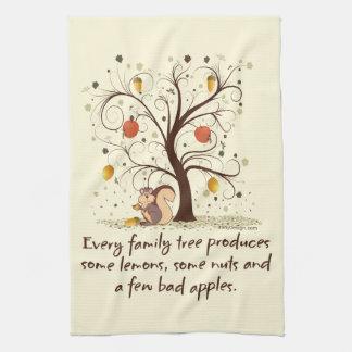 Humor del árbol de familia toalla de mano
