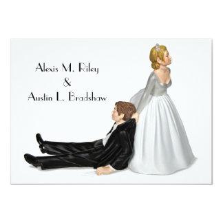 Humor del boda invitación 11,4 x 15,8 cm