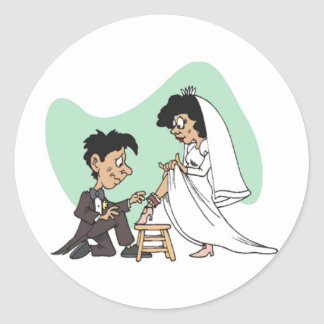 Humor del boda pegatina redonda