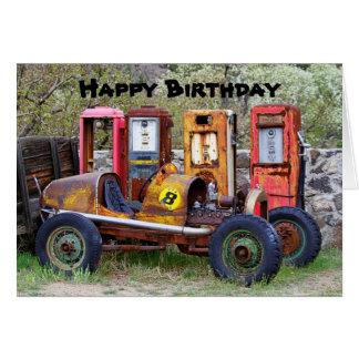 Humor del coche de carreras del feliz cumpleaños tarjeta de felicitación