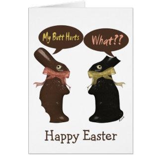 Humor del conejito de pascua tarjeta de felicitación
