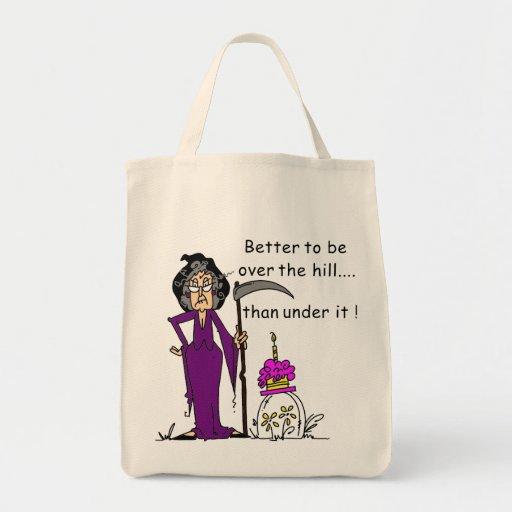 Humor del cumpleaños del parca bolsa tela para la compra