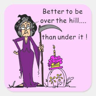 Humor del cumpleaños del parca pegatina cuadrada