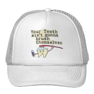 Humor del dentista y del higienista dental gorros bordados