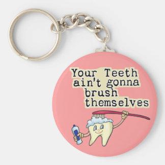 Humor del dentista y del higienista dental llavero redondo tipo pin