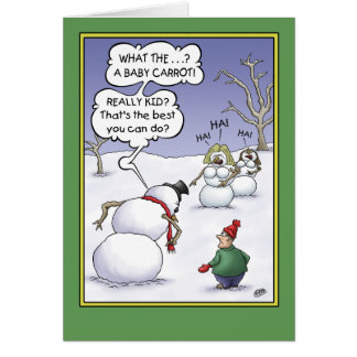 Humor del día de fiesta del muñeco de nieve, tarjeta de felicitación