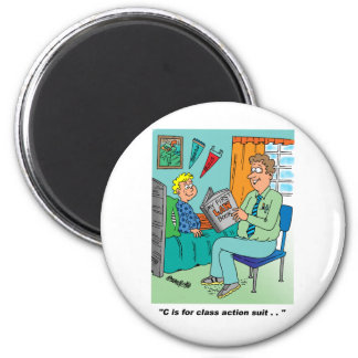 Humor del dibujo animado de la demanda colectiva imán redondo 5 cm