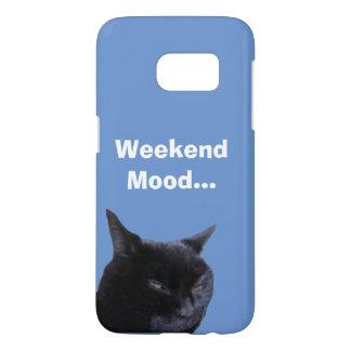 Humor del fin de semana del gato de la caja de la funda samsung galaxy s7
