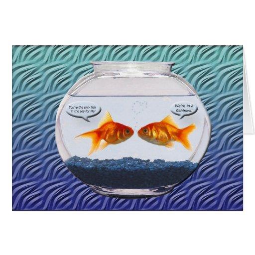 Humor del fishbowl del Goldfish Tarjetón