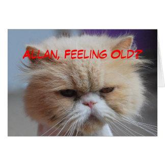 Humor del gato persa del cumpleaños de Allan Tarjeta De Felicitación