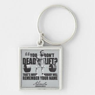 Humor del gimnasio de Abraham Lincoln - Deadlift Llavero Cuadrado Plateado