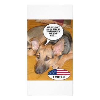 Humor del mascota/de Whitehouse de Obama Tarjeta Personal Con Foto