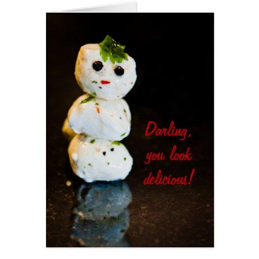 Humor del muñeco de nieve de la bola de la tarjeta de felicitación