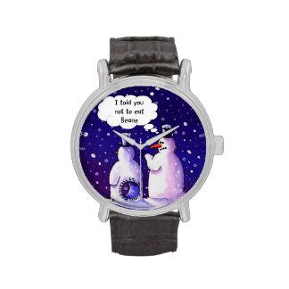 Humor del muñeco de nieve relojes