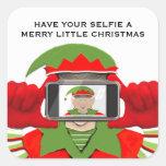 humor del navidad del selfie pegatina cuadrada