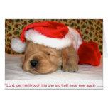 Humor del navidad, perrito del golden retriever tarjetón