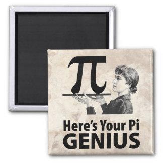 Humor del número del pi imán cuadrado