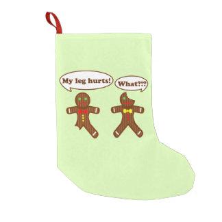Humor del pan de jengibre del día de fiesta calcetín navideño pequeño