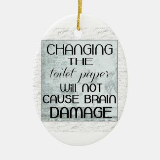 humor del papel higiénico adorno navideño ovalado de cerámica