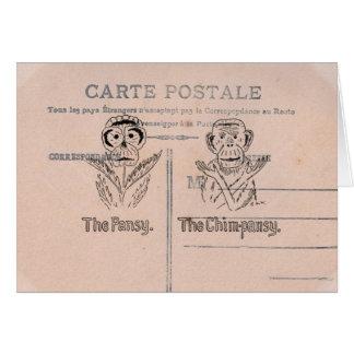 Humor del pensamiento y del chimpancé tarjeta de felicitación