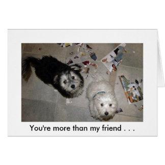 Humor del perrito de la amistad tarjeta pequeña