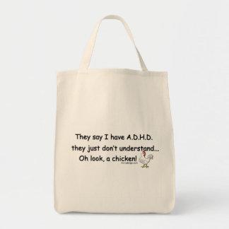 Humor del pollo de ADHD Bolsa Tela Para La Compra
