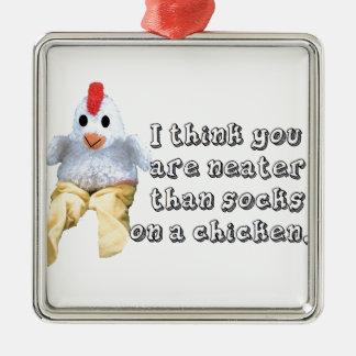 Humor del pollo adorno cuadrado plateado