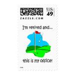 Humor del retiro para los golfistas sello postal