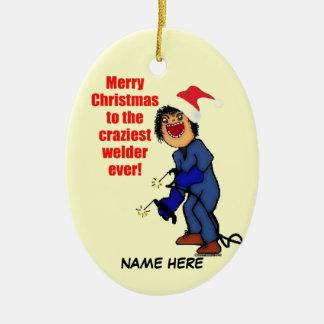 Humor del soldador del navidad adorno de navidad