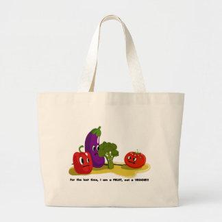 Humor del tomate bolsa tela grande