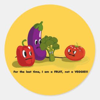 Humor del tomate etiqueta redonda