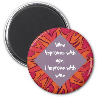 humor del vino imán redondo 5 cm