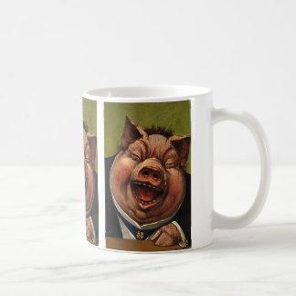 Humor del vintage, cerdo de risa divertido, tonto, taza básica blanca