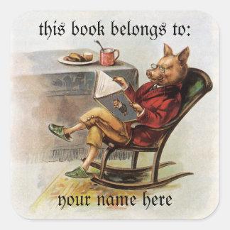 Humor del vintage, cerdo que lee un Bookplate del Calcomanías Cuadradass