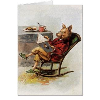 Humor del vintage, cerdo que lee un libro en tarjeta