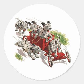 Humor del vintage coche de bomberos dálmata de lo pegatinas